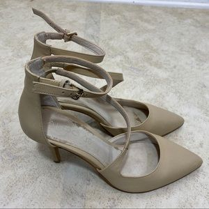 Aldo Nude Pointed Toe Strappy Heels Size 8